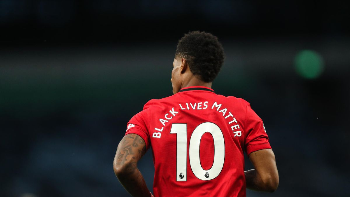Marcus Rashford of Manchester United with Black Lives Matter on the back of his shirt in place of his name during the Premier League match between Tottenham Hotspur and Manchester United at Tottenham Hotspur Stadium on June 19, 2020 in London, United King