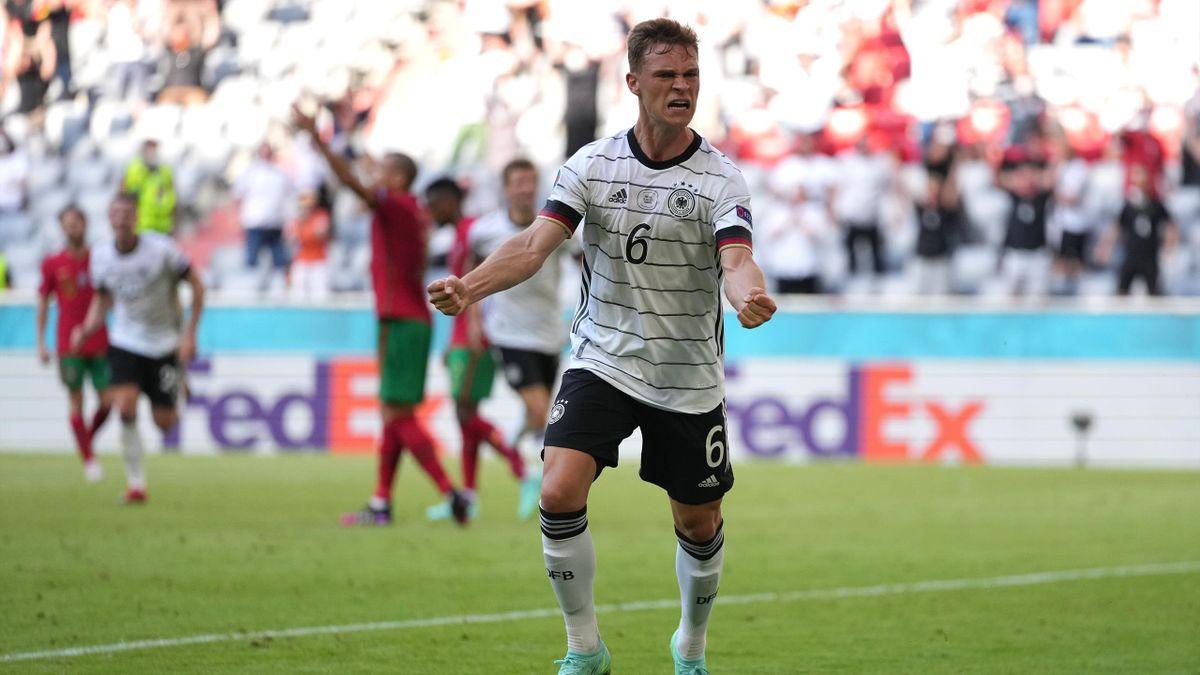 Joshua Kimmich (Deutschland) bejubelt den Sieg gegen Portugal