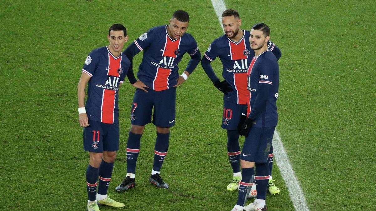 PSG-Spieler Angel Di Maria, Kylian Mbappé, Neymar und Mauro Icardi