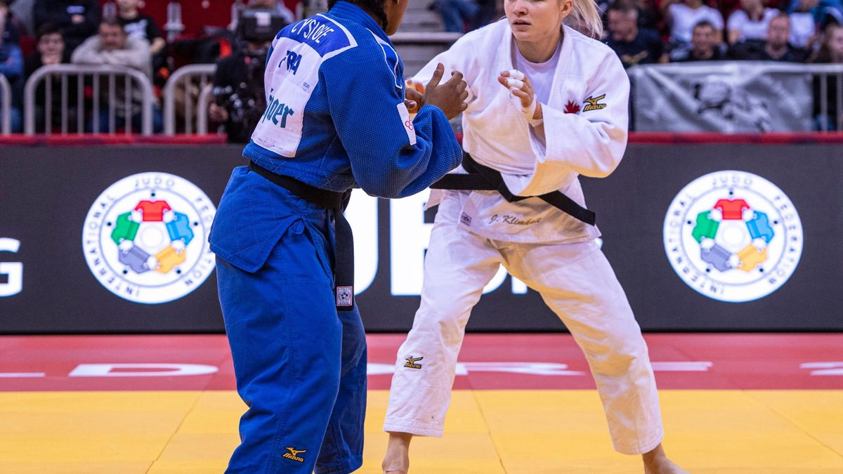 World cadet champion, Jessica Klimkait of Canada (white judogi), 23, defeated European junior champion, Sarah Leonie Cysique of France, 21, by an ippon (10 points) to win the u57kg (lightweight) gold medal during the 2020 Dusseldorf Judo Grand Slam (21-23