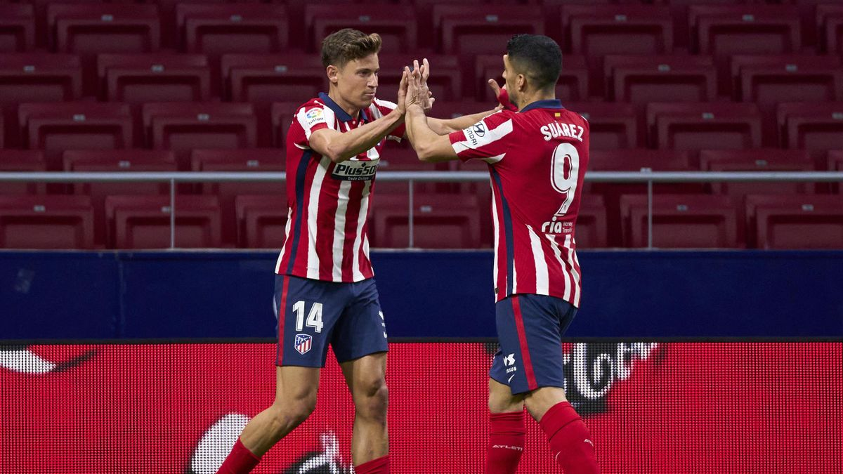 Marcos Llorente of Athletic Club celebrates after scoring his team's first goal during the La Liga Santander match between Atletico de Madrid and Athletic Club at Estadio Wanda Metropolitano on March 10, 2021 in Madrid, Spain