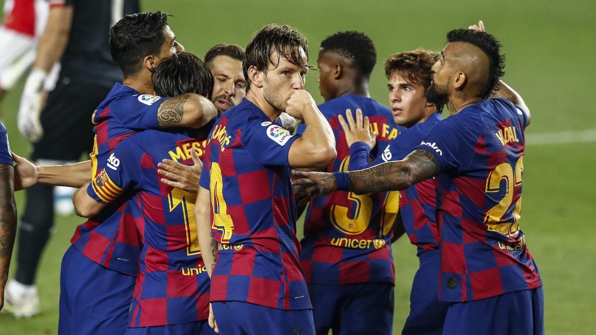 Ivan Rakitic of FC Barcelona celebrating a goal during La Liga match between FC Barcelona and Athletic Club de Bilbao behind closed doors due to Coronavirus at Camp Nou Stadium on June 23, 2020