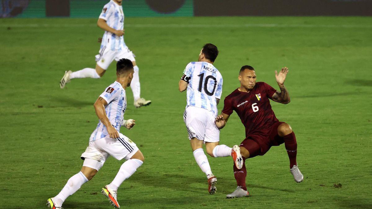 Lionel Messi of Argentina is fouled by Luis Martinez, Venezuela v Argentina, World Cup  qualifiers, Estadio Olimpico, Caracas, September 02, 2021
