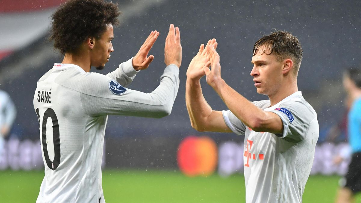 Leroy Sane and Joshua Kimmich celebrate a Bayern Munich goal