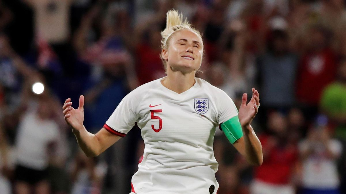 Steph Houghton of England misses a penalty during the 2019 FIFA Women's World Cup France Semi Final match between England and USA at Stade de Lyon on July 02, 2019 in Lyon, France.