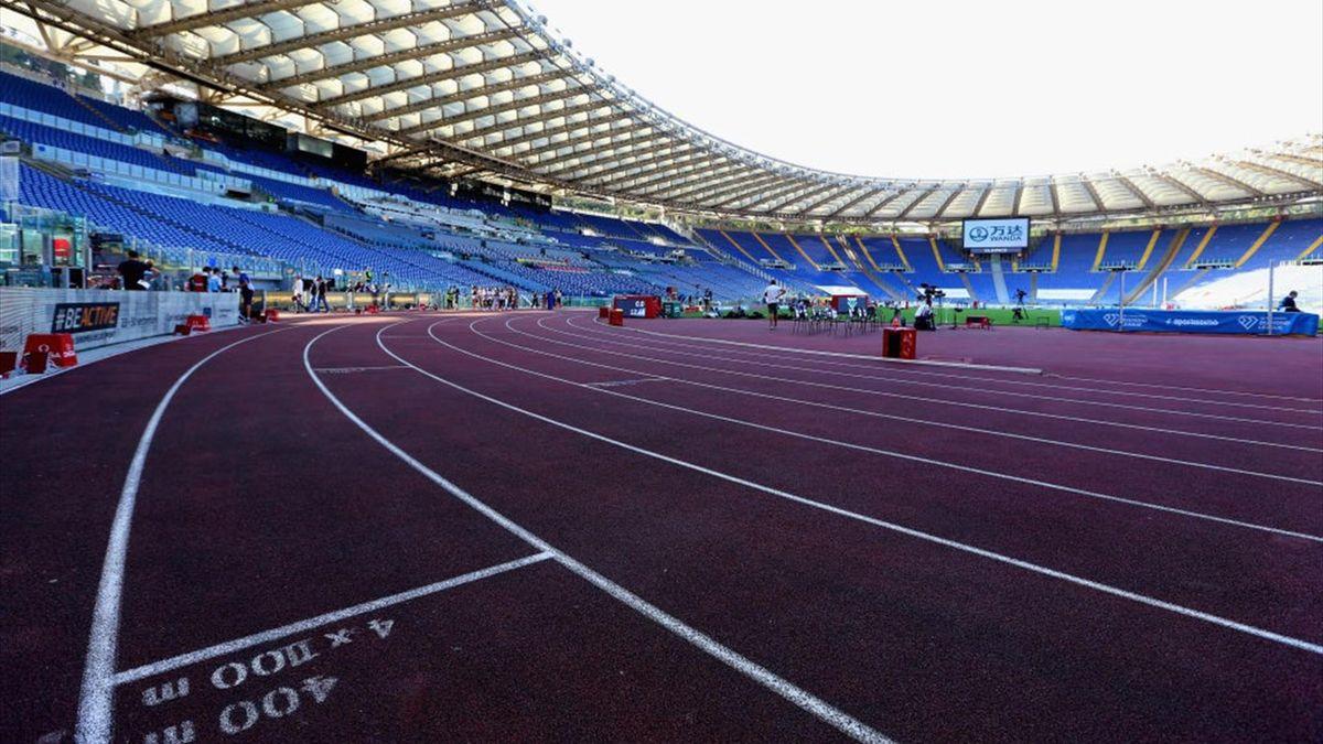 La pista di atletica dello stadio Olimpico di Roma