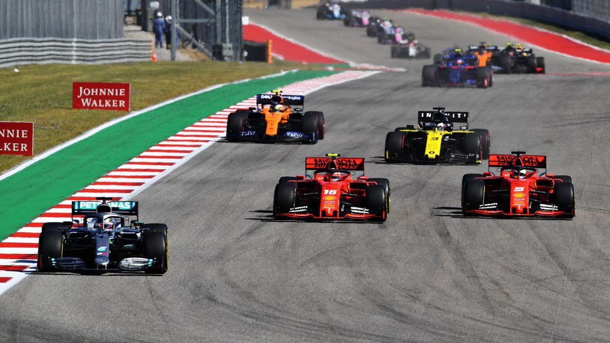 Formel 1 mit Lewis Hamilton, Charles Leclerc und Sebastian Vettel