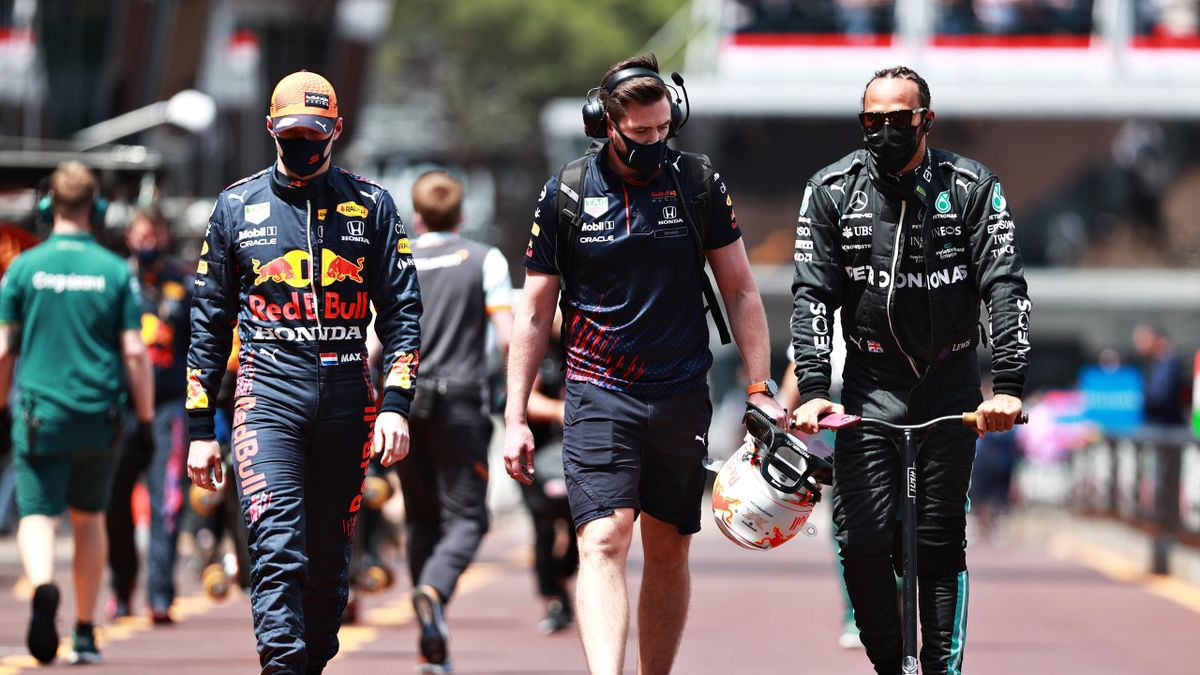 MONTE-CARLO, MONACO - MAY 23: Max Verstappen of Netherlands and Red Bull Racing and Lewis Hamilton of Great Britain and Mercedes GP walk to the grid during the F1 Grand Prix of Monaco at Circuit de Monaco on May 23, 2021 in Monte-Carlo, Monaco.