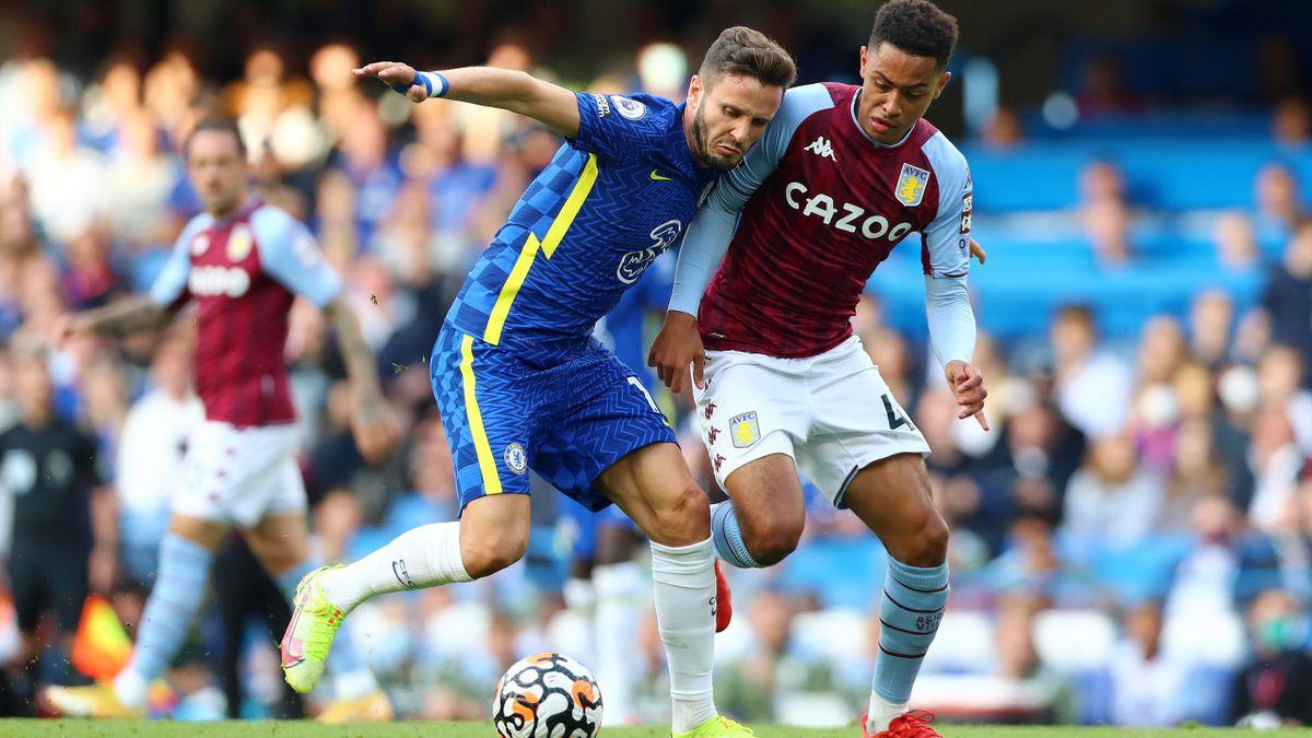 Saul Niguez plays for Chelsea against Aston Villa in the Premier League.