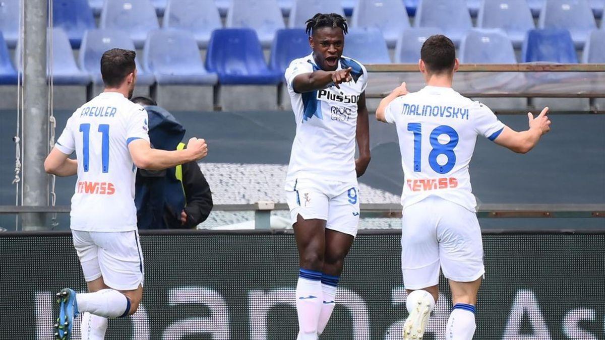 L'esultanza di Duvan Zapata - Genoa-Atalanta Serie A 2020-21
