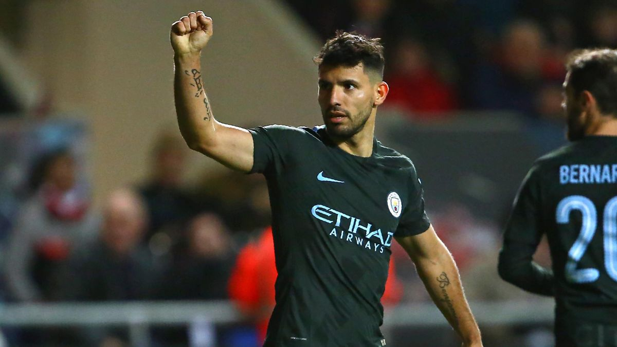 Manchester City's Argentinian striker Sergio Aguero celebrates after scoring their second goal during the English League Cup semi-final, second leg football match between Bristol City and Manchester City at Ashton Gate Stadium in Bristol, south-west Engla