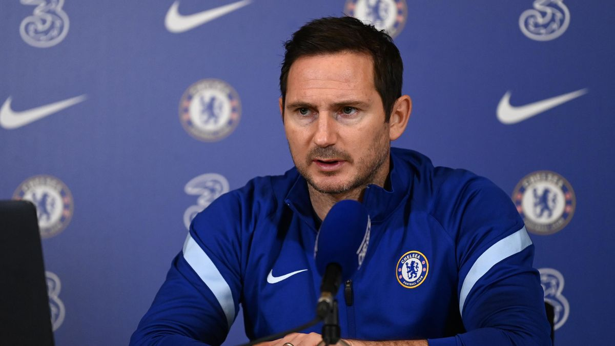 Frank Lampard of Chelsea during a press conference at Chelsea Training Ground