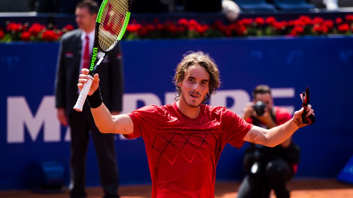 Stefanos Tsitsipas of Greece celebrates his victory against Pablo Carreno of Spain