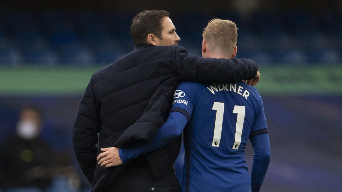 Chelsea Manager Frank Lampard and Timo Werner after the Premier League match between Chelsea and Crystal Palace at Stamford Bridge on October 03, 2020 in London, England