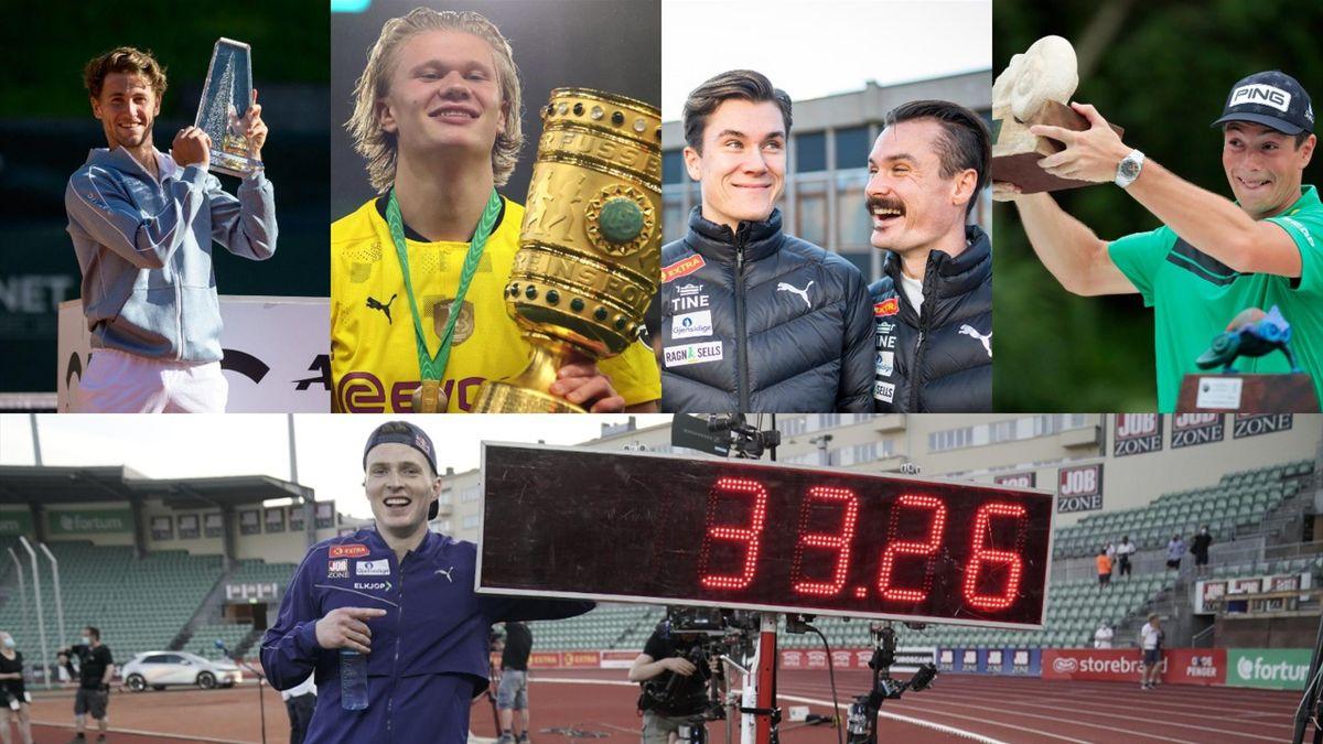 Casper Ruud, Erling Braut Haaland, Jakob og Henrik Ingebrigtsen, Viktor Hovland, Karsten Warholm