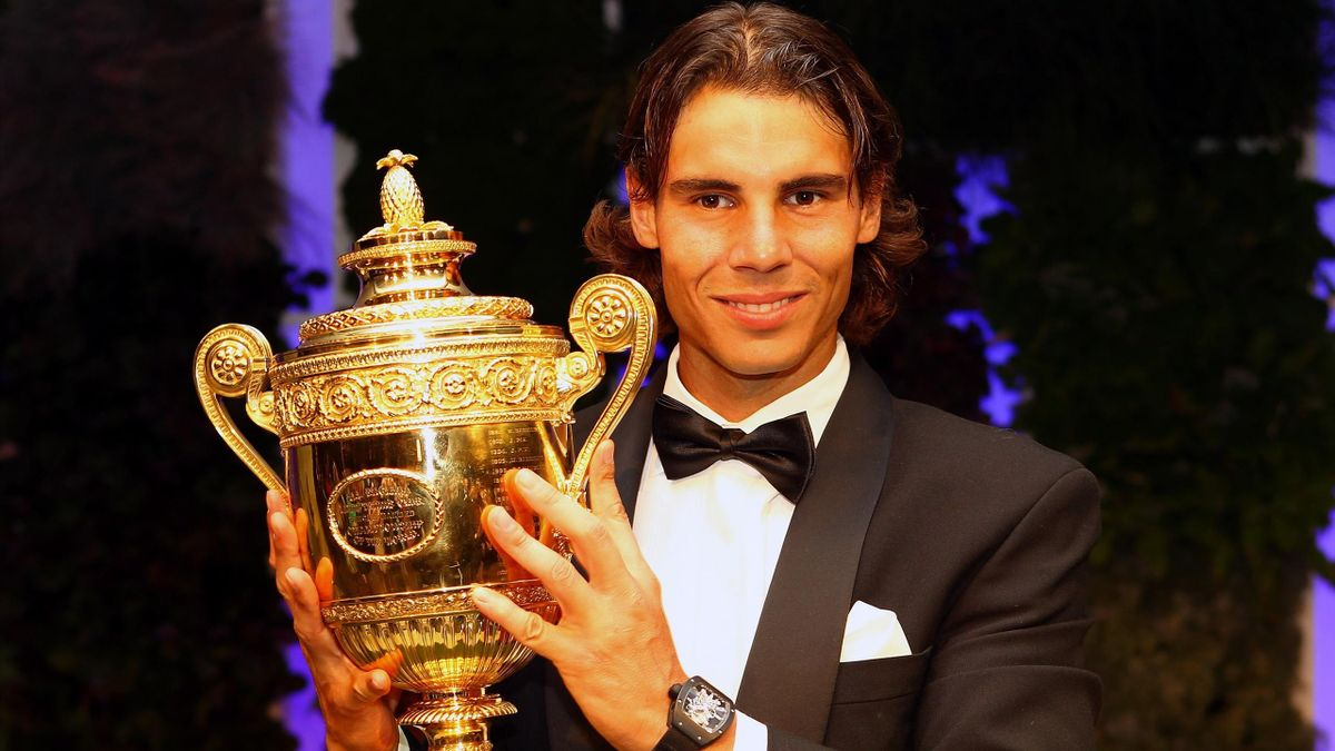 Rafael Nadal celebrates winning Wimbledon in 2010.