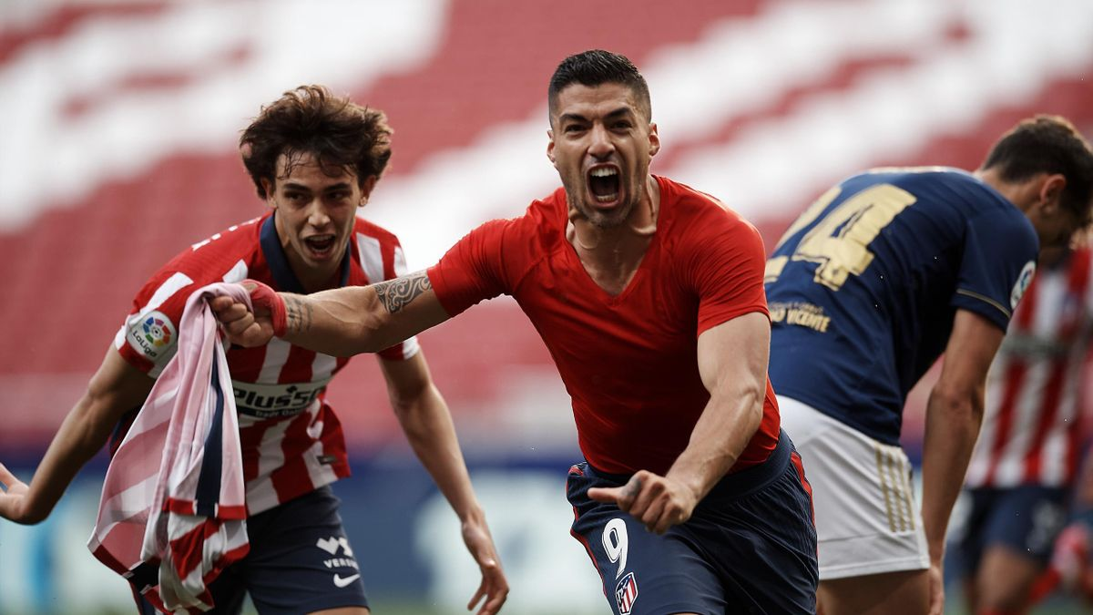 Luis Suárez (mitte) traf zum Sieg für Atlético Madrid gegen CA Osasuna