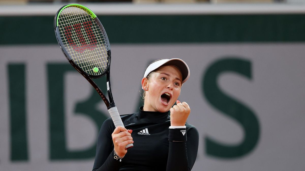 Jelena Ostapenko of Latvia celebrates after winning match point during her Women's Singles second round match against Karolina Pliskova of Czech Republic on day five of the 2020 French Open at Roland Garros on October 01, 2020 in Paris, France.