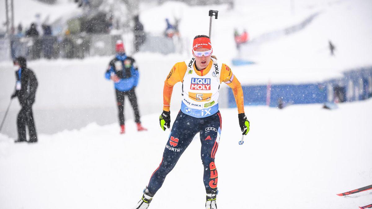 Denise Herrmann bei der WM-Mixed-Staffel auf der Pokljuka
