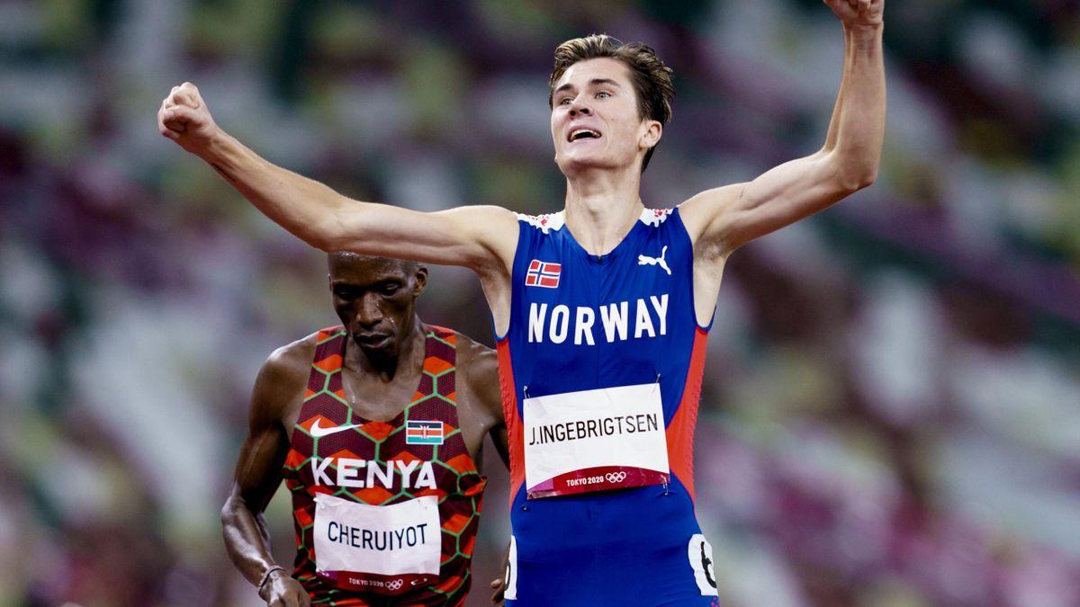Jakob Ingebrigtsen etter seieren og gull på 1500m i OL
