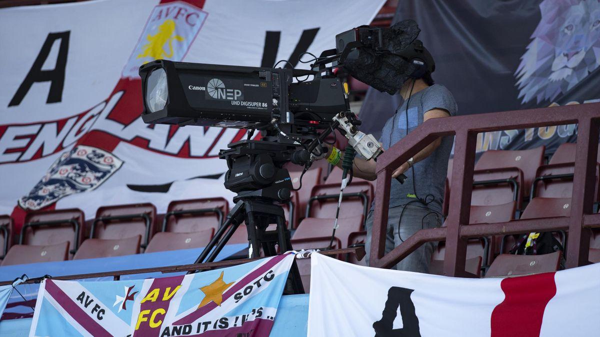 TV cameraman during the Premier League match between Aston Villa and Crystal Palace