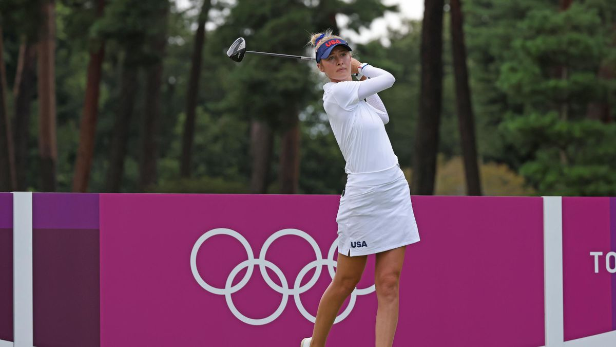 Nelly Korda hits a drive at Tokyo 2020,  Kasumigaseki Country Club, August 4, 2021