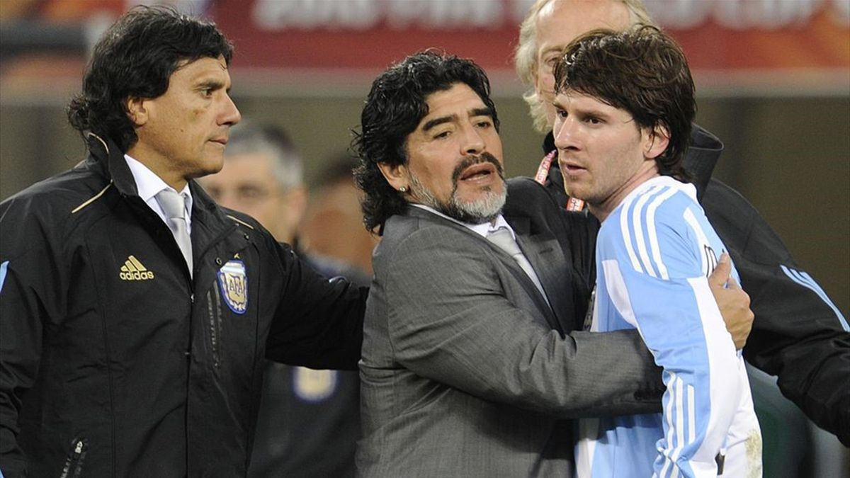 Diego Armando Maradona and Lionel Messi - Argentina vs Germany World Cup 2010