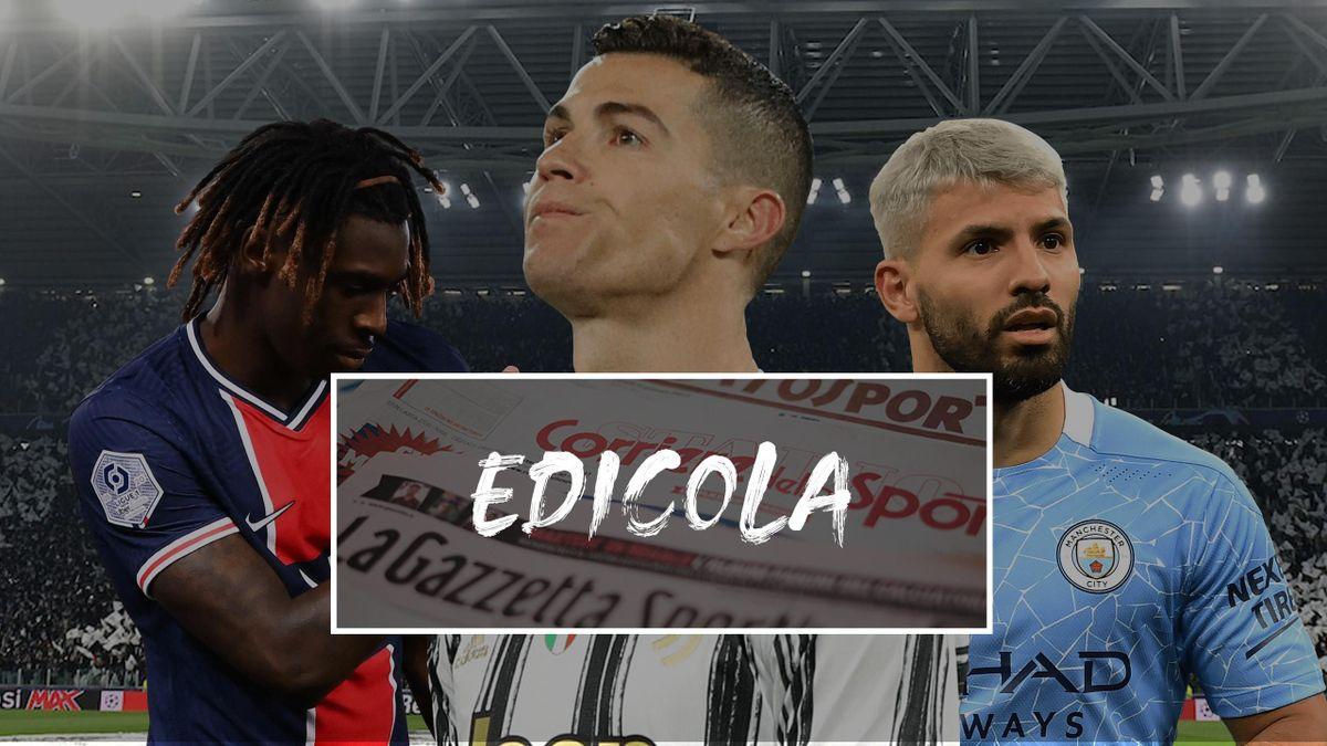 Edicola Juventus, Kean o Aguero con Ronaldo