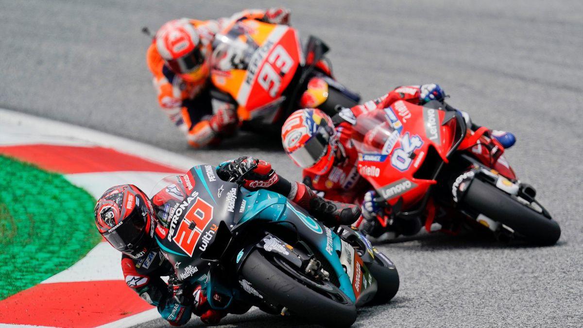 Fabio Quartararo (Yamaha Petronas SRT) devant Andrea Dovizioso (Ducati) et Marquez (Honda) au Grand Prix d'Autriche 2019