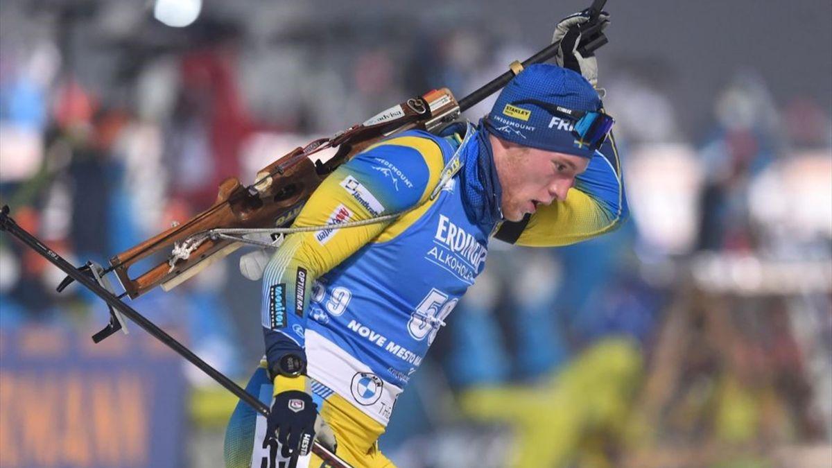 Sebastian Samuelsson lors du sprint à Nove Mesto na Morave le 11 mars 2021