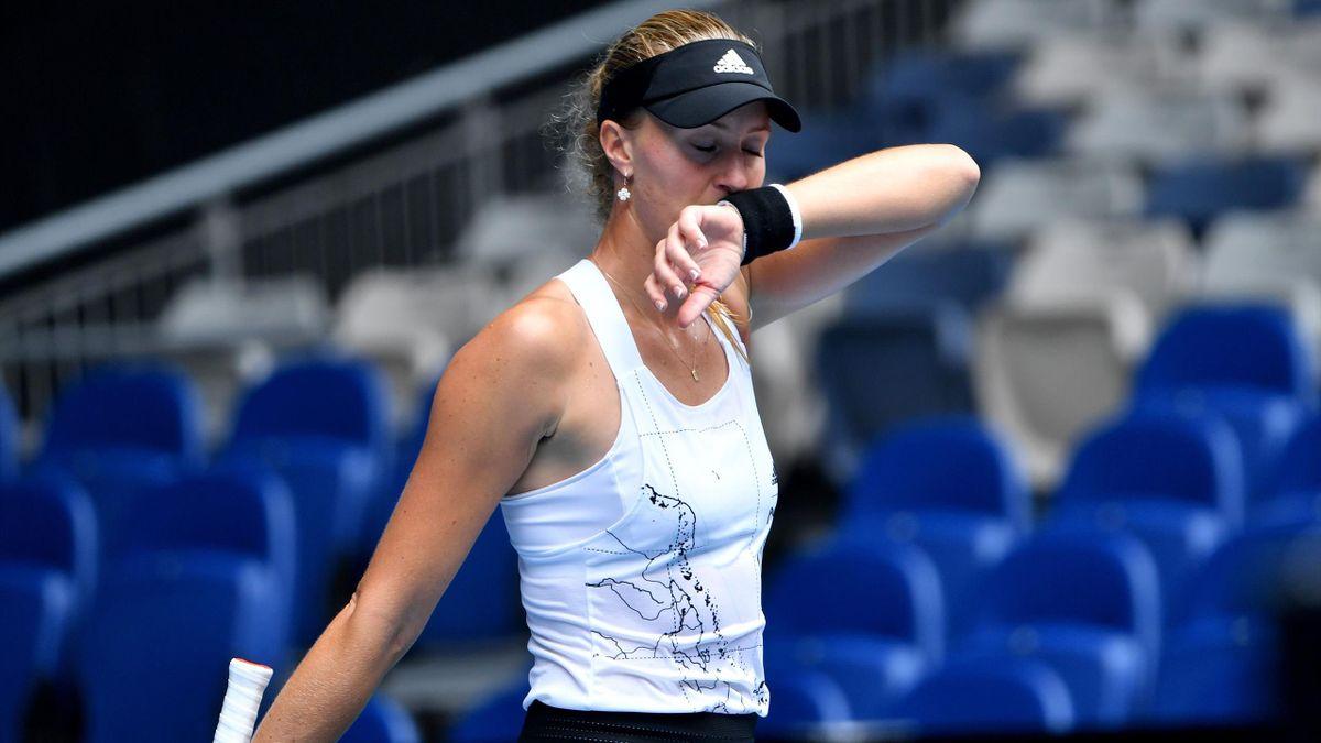 Kristina Mladenovic lors de l'Open d'Australie 2021