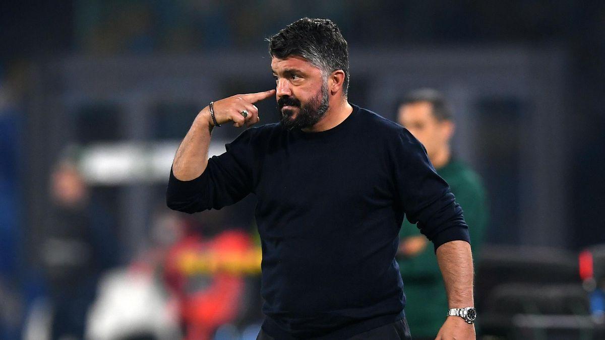 Gennaro Gattuso, allenatore del Napoli, durante Napoli-Rijeka