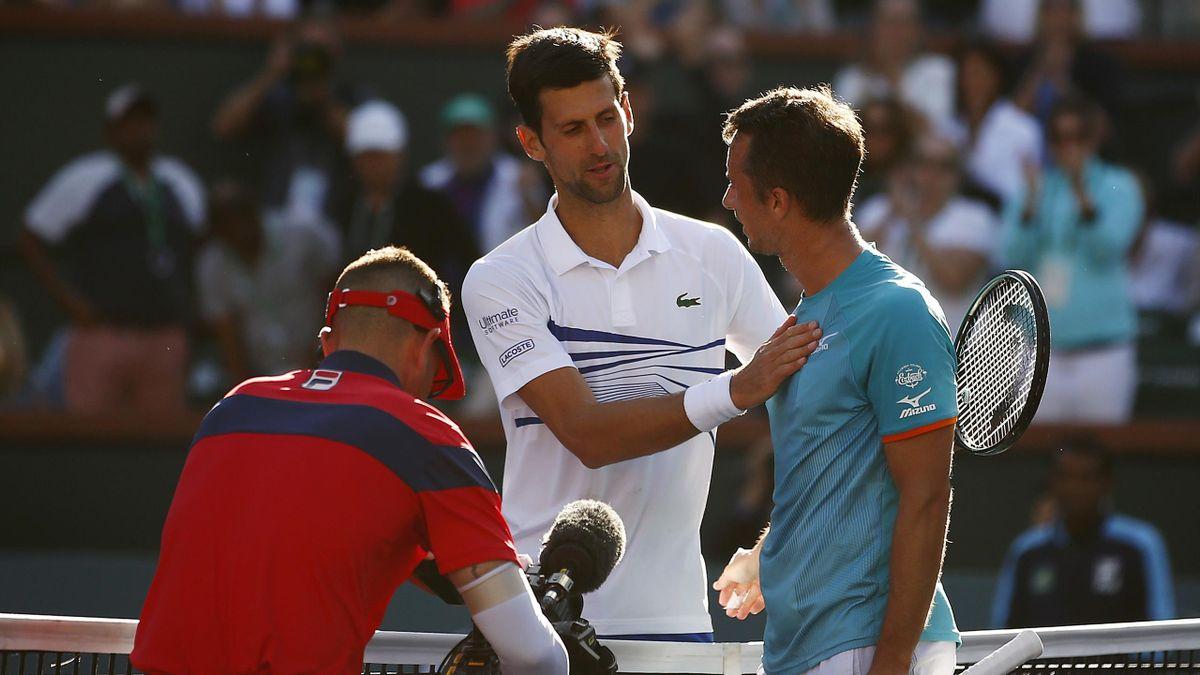 Novak Djokovic et Philipp Kohlschreiber à Indian Wells