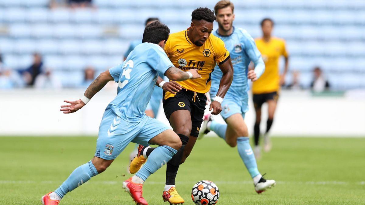 Adama Traore of Wolverhampton in action during the Coventry City v Wolverhampton Wanderers pre-season friendly at Coventry Building Society Arena on August 01, 2021 in Coventry, England.
