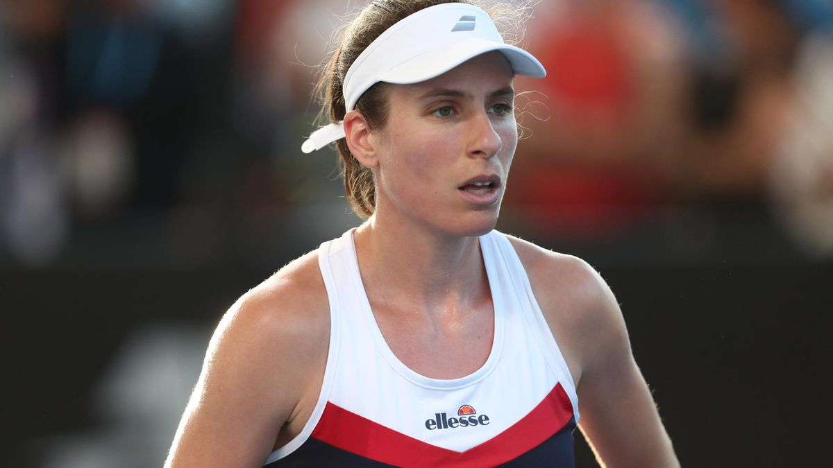 Johanna Konta of Great Britain looks on in her match against Ajla Tomljanovic