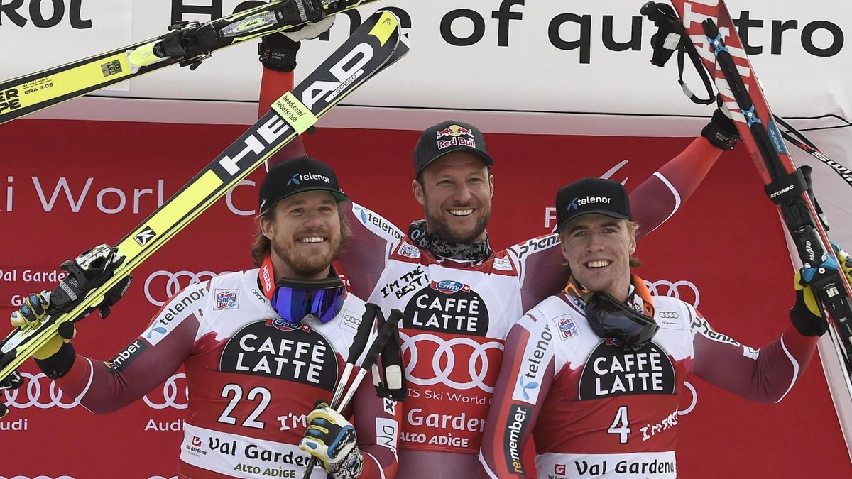 Kjetil Jansrud, Aksel Lund Svindal and Aleksander Aamodt Kilde SG Val Gardena 2015