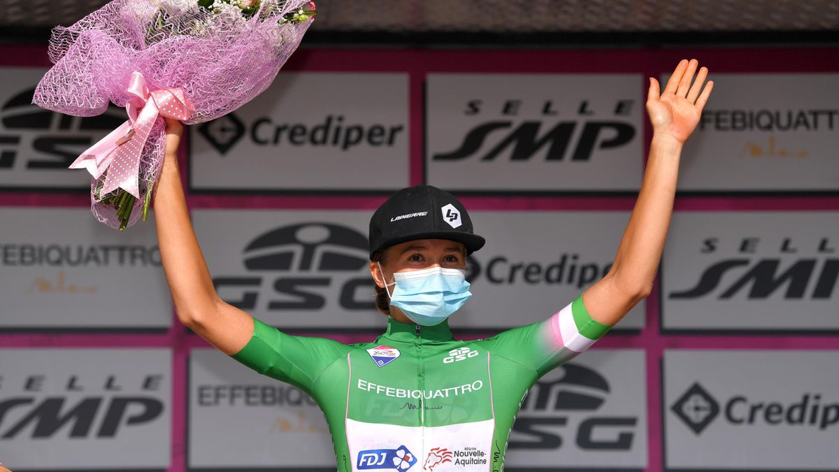 Podium / Cecilie Uttrup Ludwig of Denmark and Team FDJ Nouvelle - Aquitaine Futuroscope Green Mountain Jersey / Celebration / Mask / Covid safety measures / during the 31st Giro d'Italia Internazionale Femminile 2020, Stage 9 a 109,9km stage from Motta Mo