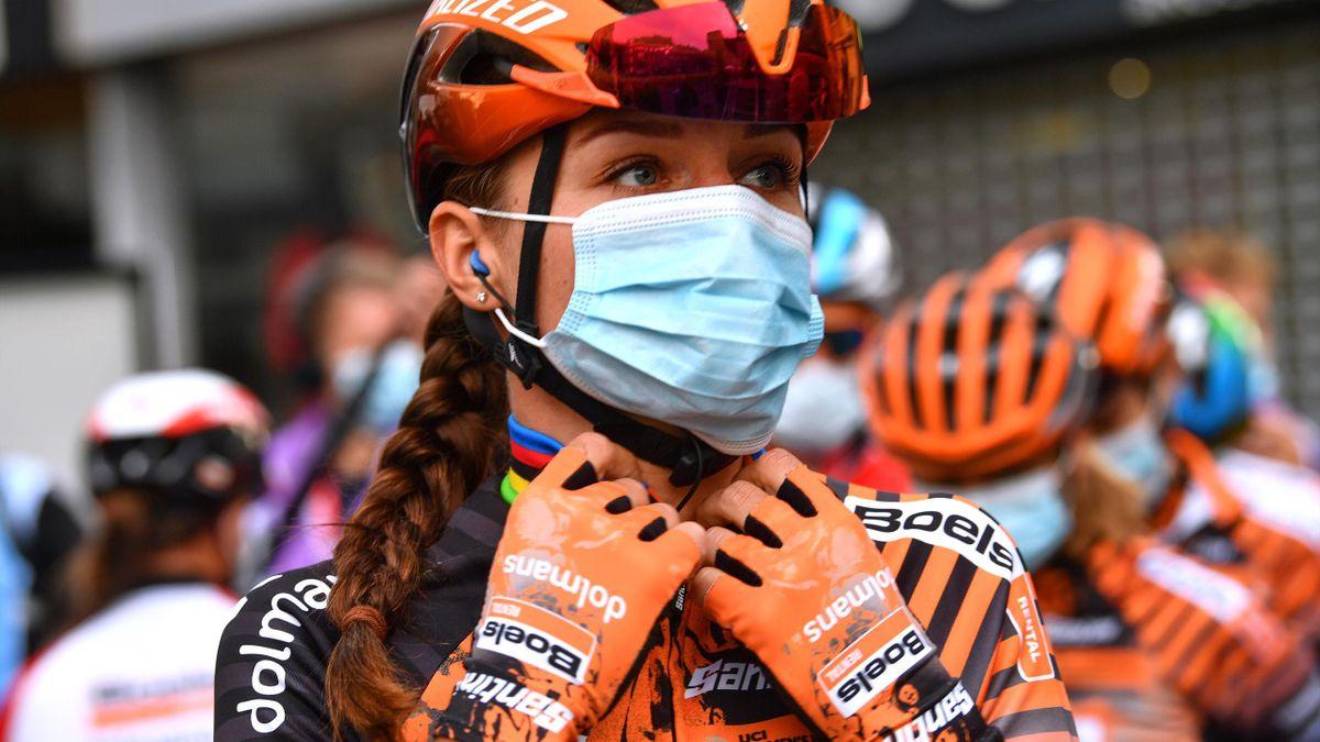 Chantal Van Den Broek-Blaak of The Netherlands and Boels Dolmans Cycling Team / Mask / Covid safety measures / Team Presentation / during the 23rd La Fleche Wallonne 2020, Women Elite a 124km stage from Huy to Mur de Huy / @flechewallone / #FWwomen /