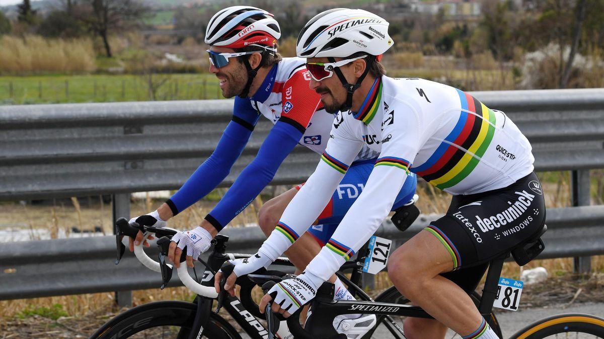 Julian Alaphilippe (Deceuninck-Quick Step) et Thibaut Pinot (Groupama-FDJ) sur Tirreno-Adriatico 2021