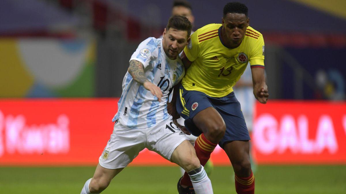 Лионель Месси и Йерри Мина в полуфинале Копы Америки-2021 Аргентина – Колумбия