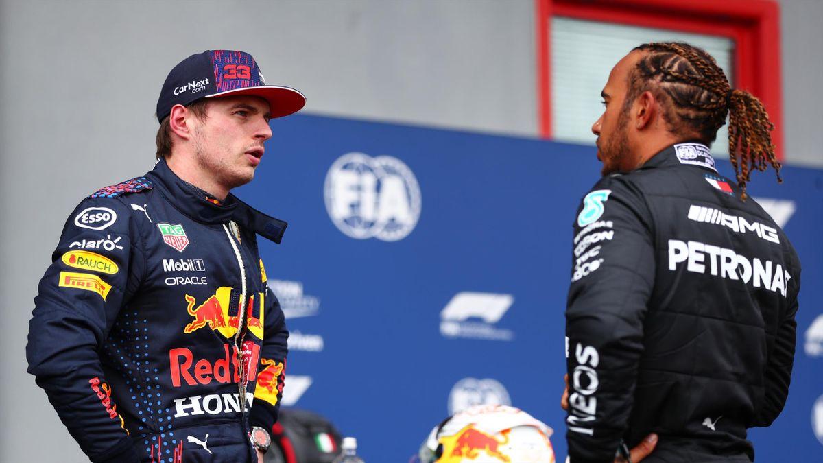 Max Verstappen und Lewis Hamilton in Imola