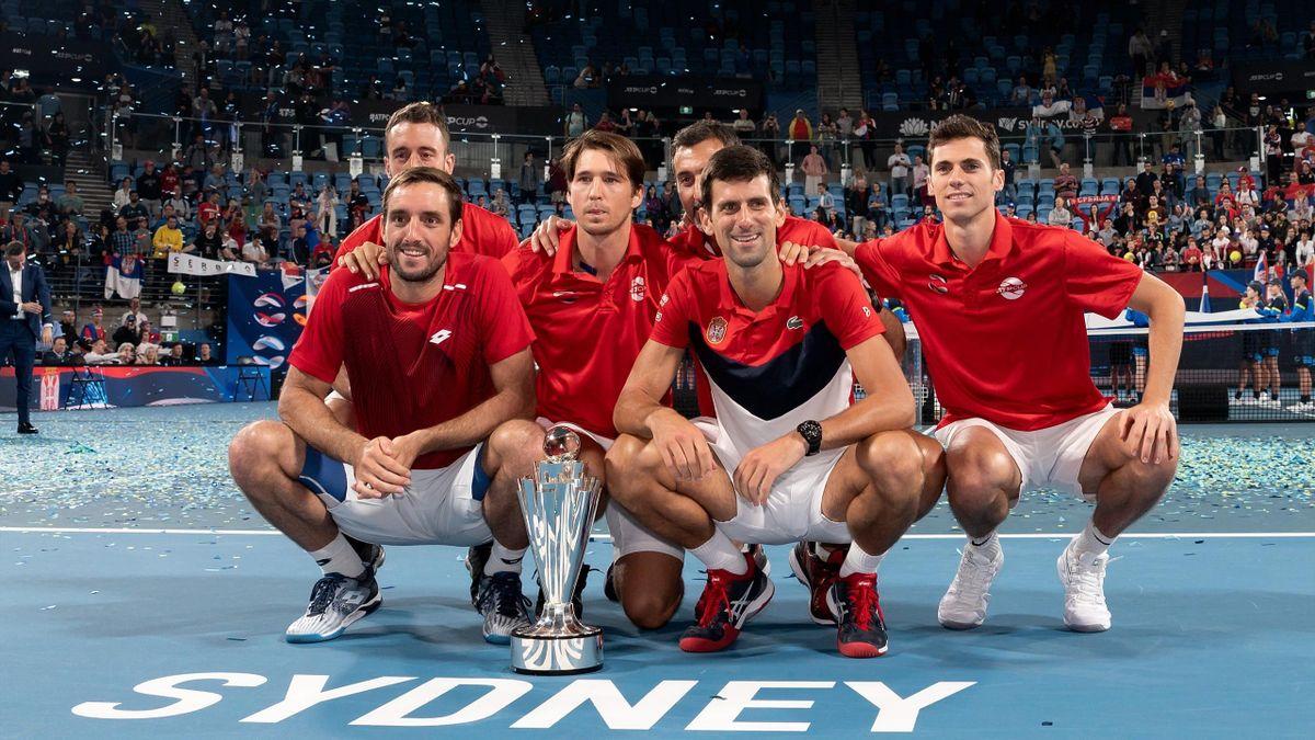 L'équipe de Serbie et Novak Djokovic à Sydney pour l'ATP Cup en 2020