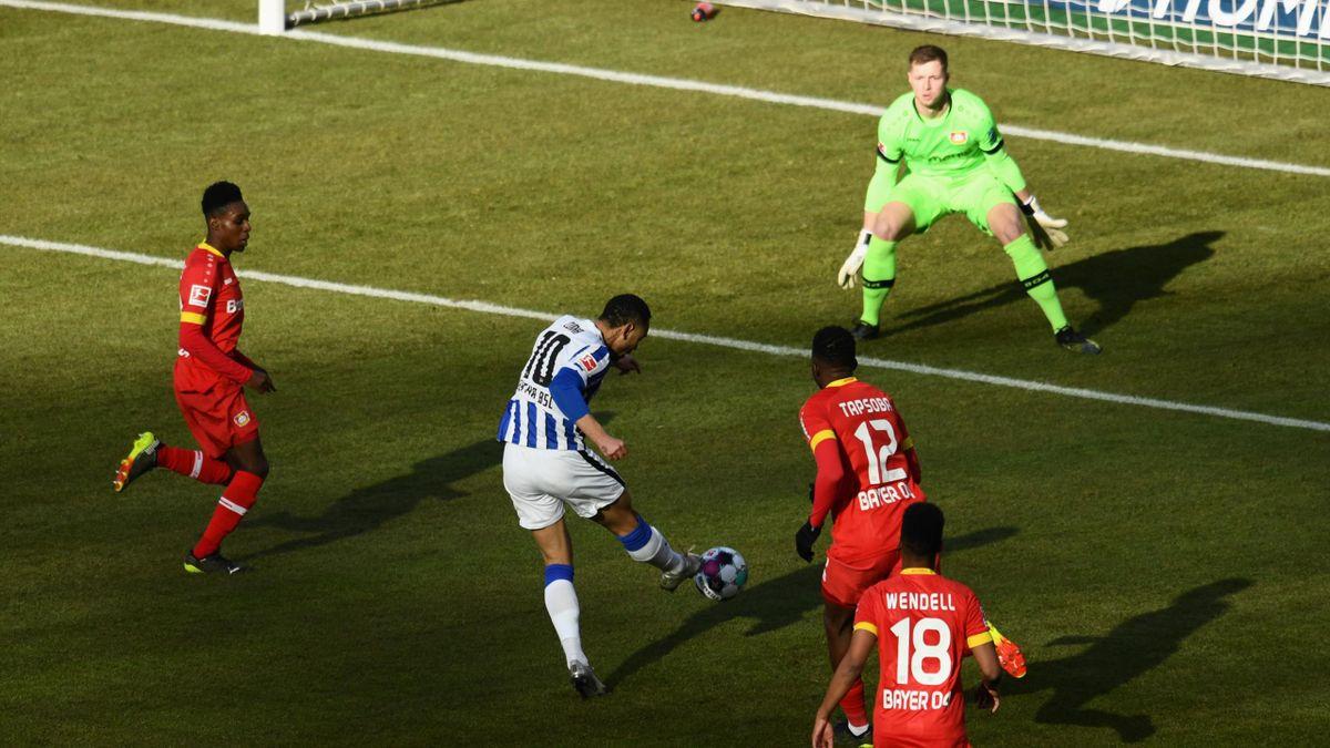 Matheus Cunha (Hertha BSC Berlin) trifft gegen Bayer Leverkusen