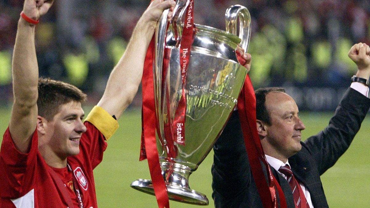 Liverpool a câștigat trofeul Champions League în 2005, cu Steven Gerrard căpitan și Rafa Benitez manager