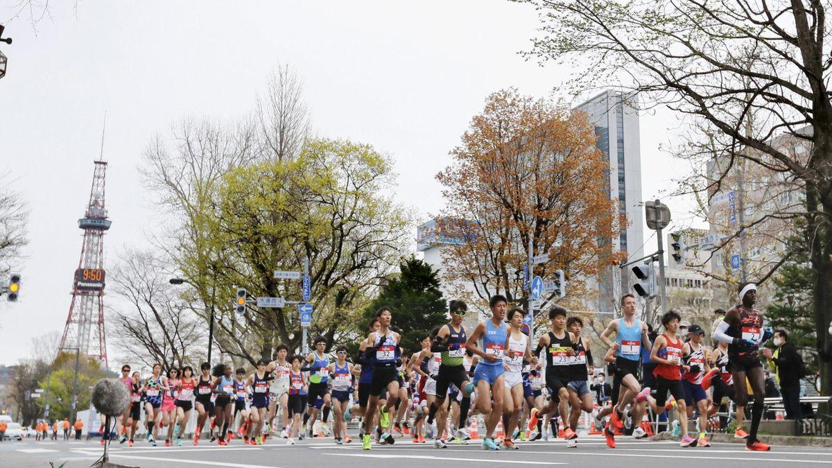 Läufer bei dem Hokkaido Sapporo Marathon Festival in Sapporo