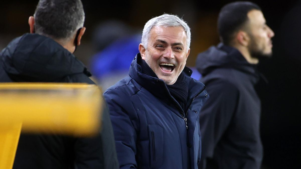 Jose Mourinho, Manager of Tottenham Hotspur laughs prior to the Premier League match between Wolverhampton Wanderers and Tottenham Hotspur at Molineux on December 27, 2020 in Wolverhampton, England.