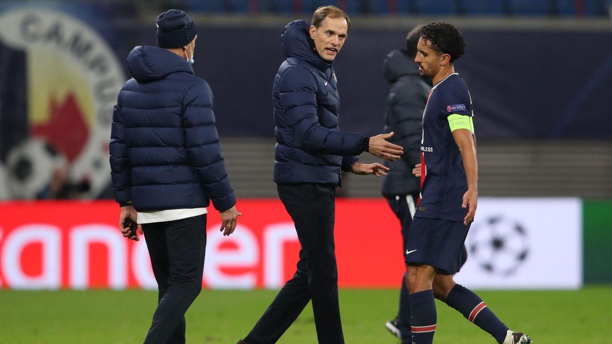 Thomas Tuchel et Marquinhos lors de la défaite du PSG à Leipzig