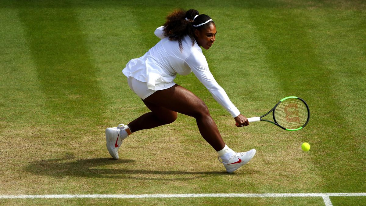 LONDON, ENGLAND - JULY 10: Serena Williams of the United States plays a backhand against Camila Giorgi of Italy during their Ladies' Singles Quarter-Finals match on day eight of the Wimbledon Lawn Tennis Championships at All England Lawn Tennis and Croque