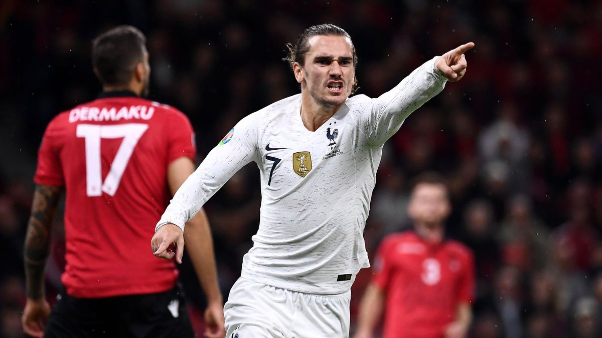 France's forward Antoine Griezmann celebrates his goal during the Euro 2020 Group H qualification match against Albania at the Air Albania Stadium in Tirana, on November 17, 2019.