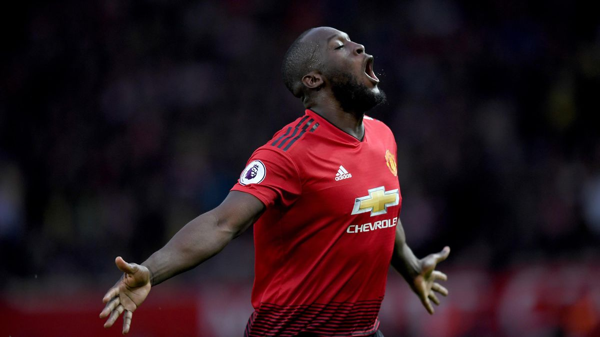 Romelu Lukaku of Manchester United celebrates after scoring his team's second goal during the Premier League match between Manchester United and Southampton FC at Old Trafford on March 02, 2019 in Manchester, United Kingdom.